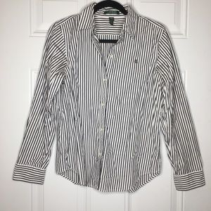 Ralph Lauren Navy Striped Button Down Medium